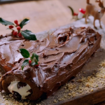 Jamie Oliver scrumptious triple chocolate yule log with a chocolate and hazelnut spread recipe on  Jamie: Keep Cooking at Christmas