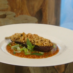 Matt Tebbutt aubergines stuffed with courgettes, green beans and peppers with a peanut and soy sauce recipe on Saturday Kitchen