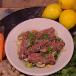 Freddy Forster beef satay stir fry recipe on Steph's Packed Lunch