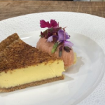Lenny Carr-Roberts custard tart with orange popping candy and rhubarb sorbet recipe on James Martin's Saturday Morning