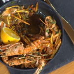 John Torode Highland fish and chips with BBQ langoustine, herb salad and crispy potatoes recipe on This Morning