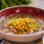 Lisa Faulkner roasted chicken noodle soup recipe on John and Lisa's Weekend Kitchen