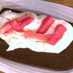 James Martin rhubarb desserts including a ginger and forced rhubarb cake with black treacle recipe on This Morning