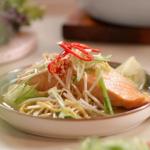 John Torode one pot teriyaki salmon and noodles with baked kale crisps recipe on John and Lisa's Weekend Kitchen