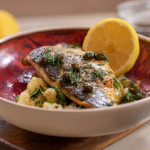 John Torode and Lisa Faulkner sea bass with preserved lemon and potatoes recipe on John and Lisa's Weekend Kitchen