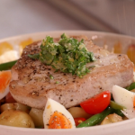 John Torode tuna steak with a warm salad recipe on John and Lisa's Weekend Kitchen
