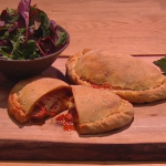 Ruby Bhogal chorizo, red pepper and tomato calzone recipe on Steph's Packed Lunch