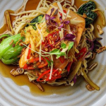 Simon Rimmer caramel salmon with egg noodles and crispy onions recipe on Sunday Brunch