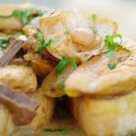Nisha Katona Marsala chicken with porcini mushrooms and garlic bread recipe on A Taste of Italy