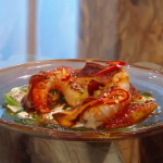 Matt Tebbutt cured prawns in coriander butter and chargrilled pineapple with a hot, sour and chilli dressing on Saturday kitchen