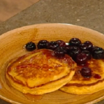 Matt Tebbutt coconut and ricotta pancakes with fresh blueberries, toasted coconut flakes and maple syrup recipe on Saturday Kitchen