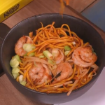 Kwoklyn Wan chilli bean king prawn noodles recipe on Steph's Packed Lunch