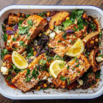 Simon Rimmer Harissa Salmon Tray Bake recipe on Sunday Brunch