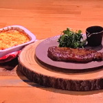 Russell Watson sirloin steak with red wine jus and potato gratin recipe on Steph's Packed Lunch