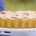 Paul Hollywood cherry lattice pie with custard recipe on The Great Celebrity Bake Off for SU2C