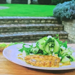 Raymond Blanc courgette salad with feta cheese and spiced chicken paillard recipe on Simply Raymond Blanc