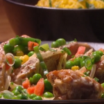 Freddy Forster creamy chicken with spring vegetable and turmeric rice recipe on Steph's Packed Lunch