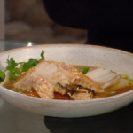 Matt Tebbutt seafood pot roast with monkfish, miso broth, carrots and shiitake mushrooms  recipe on Saturday Kitchen