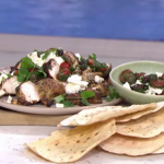 John Torode Greek style marinated chicken with flatbread and chilli chutney recipe on This Morning