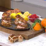Phil Vickery hot cross bun ice cream sandwich with raspberries recipe on This Morning