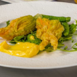 Bettina Campolucci Bordi Cashew Truffle Cheese filled Courgette Flowers recipe on James Martin's Saturday Morning