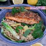 Clodagh McKenna salmon ramen in ten minutes with noodles, miso and pak choi recipe