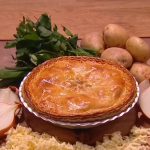 John Whaite potato, cheese and onion pie recipe on Steph's Packed Lunch