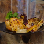 Matt Tebbutt roast poussin with vegetables and a garlic, anchovies and vinegar dressing recipe on Saturday kitchen