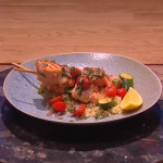 Freddy Forster salmon and prawn skewers with couscous recipe on Steph's Packed Lunch