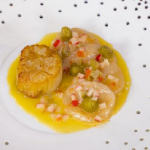Tommy Banks scallops with rhubarb, pickled peppers, strawberries and butter sauce recipe on James Martin's Saturday Morning
