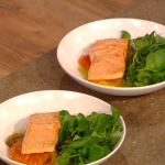 Matt Tebbutt chalk stream trout with roasted heritage tomatoes recipe on Saturday Kitchen