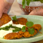 Melissa Hemsley vegetable fritters with sweet potatoes and a yoghurt dip recipe