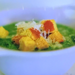 Kate Humble spring in your step soup with nettles and spinach recipe on Escape To The Farm