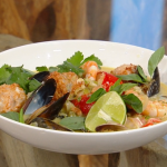 Matt Tebbutt Indonesian inspired broth with lobster prawns, mussels and deep fried cuttlefish balls recipe on Saturday Kitchen