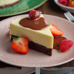 Simon Rimmer white chocolate mousse cake with chocolate sauce recipe on Sunday Brunch