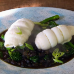 James Martin steamed lemon sole with re-fried black beans and broccoli recipe on James Martin's Saturday Morning
