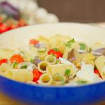 Nisha Katona pasta alla norma with aubergine, tomatoes, basil and ricotta cheese recipe on A Taste of Italy