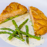 James Martin salmon en croute with asparagus and sparkling wine sauce recipe on James Martin's Saturday Morning