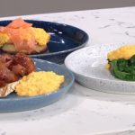 James Martin scrambled eggs with spinach, smoked salmon and crispy bacon recipe and This Morning
