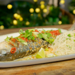Ainsley Harriott sesame and ginger sea bass with Asian noodles salad recipe on Ainsley's Food We Love