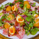 James Martin warm deep-fried boiled egg salad with speck and asparagus recipe