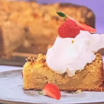 Simon Rimmer apple cake with Lancashire cheese crumble recipe on Sunday Brunch