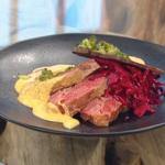 Matt Tebbutt corn beef with vegetables, cheese sauce, pickled cabbage and crisp rye bread recipe on Saturday Kitchen