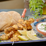 Ainsley Harriott harissa and lemon chicken skewers with a garlic and mint dipping sauce on Ainsley's Mediterranean Cookbook