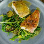 James Martin red snapper with gurnard, summer vegetables and wild garlic recipe on James Martin's Saturday Morning