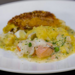 Galton Blackiston luxury fish pie with monkfish and potatoes with egg yolks recipe on James Martin's Saturday Morning