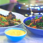 Kate Humble slow roasted goat shoulder with Middle Eastern inspired slaw and spicy harissa yoghurtdip recipe on Escape To The Farm