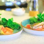 Kate Humble roast rhubarb with mackerel and orange recipe on Escape to the Farm