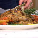 Clodagh Mckenna Irish weekend roast chicken with potato stuffing recipe on This Morning