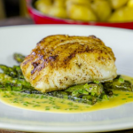 James Martin roast cod with Jersey Royals, BBQ asparagus and beurre blanc sauce recipe on James Martin's Saturday Morning